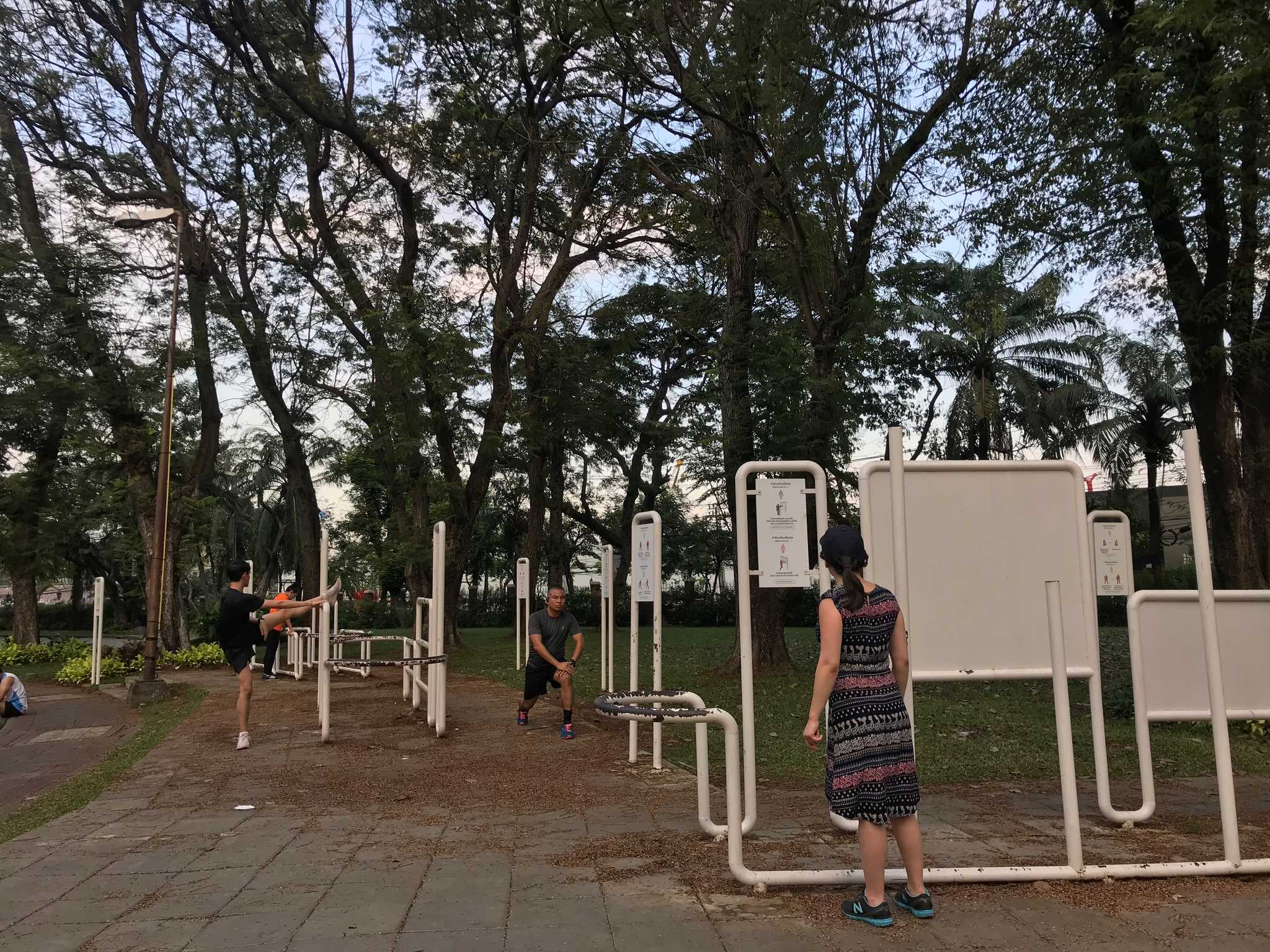 thinking about working out in Lumphini Park